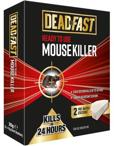 Deadfast Mouse Killer Pre-Baited Stations Twin Pack