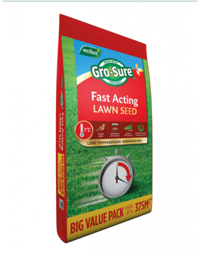 Westland Horticulture Gro-Sure Fast Acting Lawn Seed 375SQM Bag