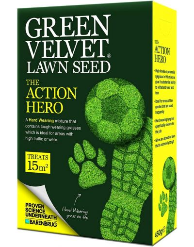 Barenbrug Green Velvet The Action Hero Lawn Seed 450G