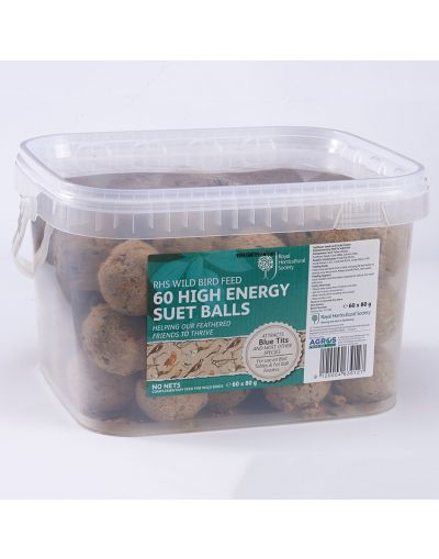 RHS Wild Bird High Energy No Net Suet Balls Tub (60)