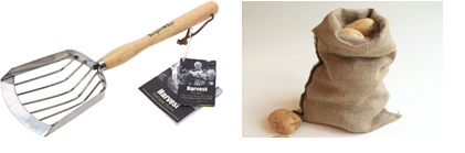 Left - Potato Harvesting Scoop. Right - Hessian Sack